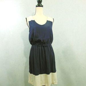 Ann Taylor Loft Blue Cream Tie Waist Dress Sz M